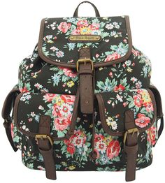 Summer Vibes with Anna Smith Flower Floral Print Backpack Back to school- Black
