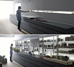 Sleek Self-Contained Kitchen Design Disguises Clutter | Designs & Ideas on Dornob