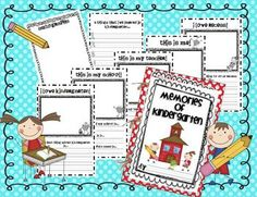 School Memory Books: FREE kindergarten memories booklet with 7 writing prompt pages. First Grade, Grade 1, Second Grade, School Projects, School Ideas, Free Teaching Resources, Teaching Ideas, Literacy Games, School Memories