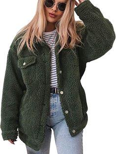 ECOWISH Women s Coat Casual Fleece Fuzzy Faux Shearling Button Down Winter  Outwear Jackets 0214 Army Green 28158fa6b