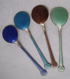 Lovely Set of 4 Solid Sterling Silver Gilt & Enamel Ice Cream Spoons/ 12.8 cm Each spoon is 12.8 cm long