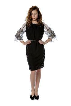 Rochie neagra cu maneci clopot din voal alb printat RO194 -  Ama Fashion Dresses For Work, Black, Fashion, Moda, Black People, Fashion Styles, All Black, Fashion Illustrations, Fashion Models