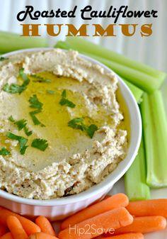 Roasted Cauliflower Hummus: 1 head of cauliflower, 3 tablespoons olive oil, 1/3 cup sesame seed paste (tahini), 2 tablespoons lemon juice, 2 cloves garlic, chopped, 1/2 teaspoon ground cumin, salt & pepper to taste