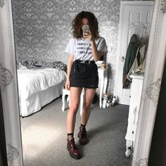 I feel so much more confident with my style of clothing now, I'm glad I don't care what people think anymore✌🏼just be yourself peeps 🤙🏼 Edgy Outfits, Grunge Outfits, Grunge Fashion, Skirt Outfits, New Outfits, Summer Outfits, Cute Outfits, Fashion Outfits, Womens Fashion