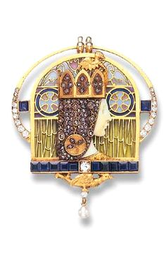A RARE IVORY, ENAMEL AND GEM-SET PENDANT BROOCH, BY LUIS MASRIERA  , circa 1900
