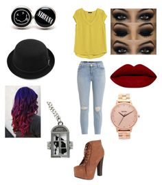 """Casual teen outfit Off to Neverland outfit The mustard coloured """"T"""" goes great with these light blue jeans.the heeled boots raise the Toosh; the coloured hair makes the """"T's"""" colour POP!! #colouredhair #plainT-Shirt #lightwarshjeans #skinnyjeans"""