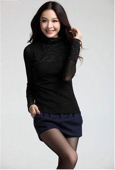 Plus Size S-3XL Women Sweaters women's TurtleNeck diamond chiffon long sleeve black sexy pullover sweaters Basic Shirt.