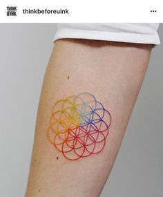 another tatoo of Coldplay Tattoo, Coldplay Art, Music Tattoos, Body Art Tattoos, Small Tattoos, Tatoos, Color Wheel Tattoo, Color Tattoo, Disney Tattoos