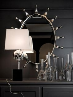 Skull lamp and love the mirror