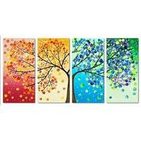 Oil Painting Hand Painted - Abstract Modern/Contemporary Canvas Four Panels Oil Painting On Canvas, Painting Frames, Canvas Poster, Poster Prints, Tree Canvas, Colorful Trees, Tree Patterns, Online Painting, Wall Art Pictures