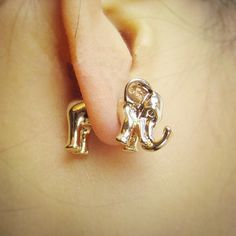 $18.00 | THREE-DIMENSIONAL ELEPHANT STUD EARRINGS, EARRING PIERCING