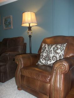 Leather chair with studs