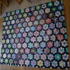 Vintage Grandmothers Flower Garden Quilt Top by thebusybeecook