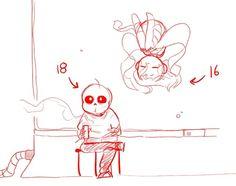 FaithTale // Sans and Frisk Undertale Gif, Frans Undertale, Undertale Comic Funny, Undertale Drawings, Undertale Ships, Sans X Frisk, Anime Art Girl, Mythical Creatures, Nerd