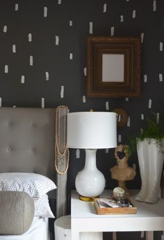 Dashes, Risk and Imperfection - love this! Would be so cute in a bathroom - painted dark walls with white dashes. Bedroom Sets, Home Bedroom, Bedroom Wall, Bedrooms, Master Bedroom, Grey Walls, Dark Walls, Wall Treatments, Home Furniture