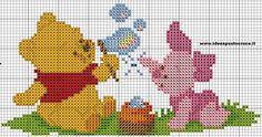 Schemi winnie the pooh - idee a punto croce charts punto cro Cross Stitch Boards, Cross Stitch Baby, Cross Stitch Kits, Counted Cross Stitch Patterns, Cross Stitch Designs, Cross Stitch Embroidery, Pooh Baby, Baby Motiv, Disney Stitch