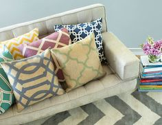 Update your living space for less by adding cheerful pops of colour with decorative pillows