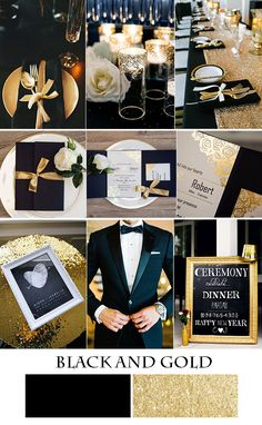 chic gold and black wedding inspiration with gold foil wedding invitations