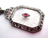 Art Deco Necklace Ruby Camphor Glass Pendant 1920s Vintage Jewelry
