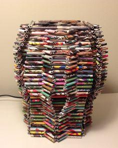 Lampara, hecha con papel de revistas - Magazine paper crafts