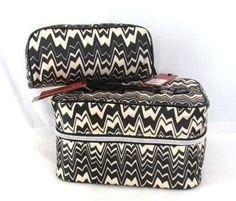 Missoni for Target Blk Wht Zig Zag Famiglia Train Case   Cosmetic Bag Travel  Set by eebbf06b1aa86