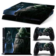 Ambur® Console Designer Protective Vinyl Skin Decal Cover for Sony Playstation 4 & Remote Dualshock 4 Wireless Controller Sticker --- Star Wars Master Yoda Video Game Rooms, Video Games Xbox, New Video Games, Xbox One Games, Playstation 4 Console, Xbox One Console, Playstation Games, Ps4 Games, Games Consoles
