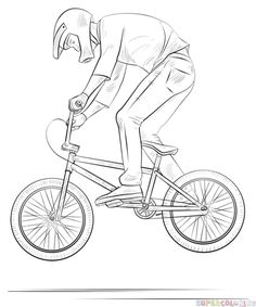 How to draw a bmx biker step by step. Drawing tutorials for kids and beginners.