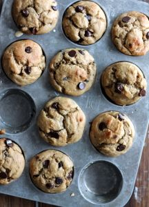 Skinny Banana Chocolate Chip Muffins - low-fat, no sugar added and made with greek yogurt!