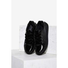 Sixtyseven Warwick Patent Creeper Sneaker (220 PEN) ❤ liked on Polyvore featuring shoes, sneakers, black, patent leather sneakers, creeper shoes, lace up sneakers, creeper sneakers and platform sneakers