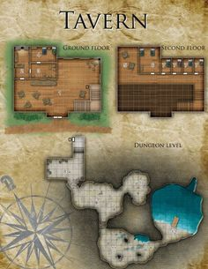 Tavern – Cartography by Tommi Salama Fantasy City Map, Fantasy Town, Pathfinder Maps, Building Map, Rpg Map, Map Layout, Adventure Map, Dungeon Maps, Dungeons And Dragons Homebrew