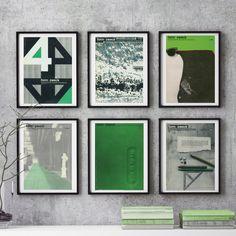 6 piece Wall Art MidCentury GREEN Retro German Form Zweck Minimal Graphic Design Magazine Print Reproduction Graphic Designer Gift