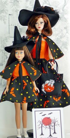 Halloween Barbie and Skipper Barbie Sisters, Barbie Family, Barbie Halloween, Halloween Fashion, All American Doll, Barbies Pics, Barbie Skipper, Vintage Barbie Dolls, Barbie Collection