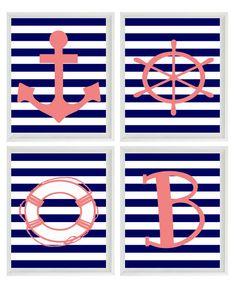 Beach Nautical Initial Art Print Set - Pink Navy Blue White Stripes Nursery Girl Room - Anchor Wheel - Wall Art Home Decor Set 4 8x10. $50.00, via Etsy.