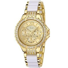 Anleo Womens Quartz Watches With Diamante Dress Stainless Steel Gold Wristwatch 5590White >>> You can find out more details at the link of the image.