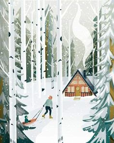 Image may contain: outdoor Illustration Noel, Winter Illustration, Forest Illustration, Christmas Illustration, Illustrations, Doodle Drawing, Winter Art, Winter Snow, Christmas Art