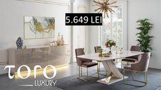 Diningul Gloria se adaptează perfect caminului dumneavoastra si poate fi comandat la Showroom-ul #TORO Luxury. Rezervari si comenzi: 0746 661 384   Preturi Gloria Dining - 1 masa - 5,649 RON (tva inclus)  - 6 scaune - 6,168 RON (tva inclus)  - 1 bufet - 4,805 RON (tva inclus) Dining Table, Luxury, Showroom, Office Desk, Furniture, Modern, Home Decor, Homemade Home Decor, Desk Office
