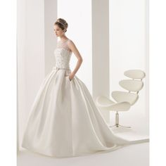Satin Jewel Chapel Train Ball Gown Wedding Dress Wro0171 (390 BAM) ❤ liked on Polyvore featuring dresses and wedding dresses