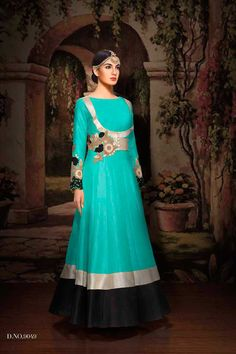 designer party wear green suits catalouge with work 9049