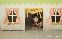 Tablecloth playhouse. Love the simplicity of this one.