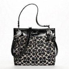 Authentic Coach Ashley Handbag Sateen Signature Hippie Crossbody F17599 Black #SYLink #handbags #Coach