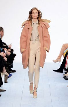 Chloe Double face wool angora parka coat Crepe-back satin scarf blouse Stretch compact wool skinny pants