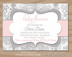 Shimmer Pink Gray - Baby Shower Invitation Pink and Gray Grey - Baby Girl - shabby chic PRINTABLE INVITATION DESIGN