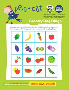 Turn your fruits and veggies into winning game pieces with a game of PEG + CAT Grocery Store Bingo! #healthykids