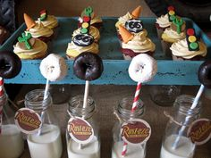 Dessert table by Triple M Good Parties  Cupcake toppers by Miss Sweet Sends  Printables by The Blue Egg Events and Design