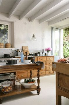 Rustic Kitchen light and not dark like an all dark wood and stone kitchen