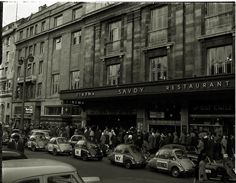 """04 December 1960 Heinkel """"I'm All Right Jack"""" parade through Dublin city organised by Lincoln and Nolan. Picture shows the line of Heinkel Bubble cars on parade passing the Savoy Cinema. Dublin Street, Dublin City, Old Pictures, Old Photos, Ireland Homes, Photo Engraving, Irish Celtic, Dublin Ireland, Picture Show"""