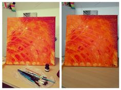 Abstraction, acrylic and sponge technique. The flames of the fire #ART #Abstract