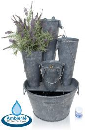 Borelli Zinc Bucket Cascade Planter Water Feature with Lights by Ambienté™ Fountains For Sale, Patio Fountain, Cascade Water, Backyard Water Feature, Elements Of Nature, Different Plants, Rustic Design, Water Features, Cottage Style