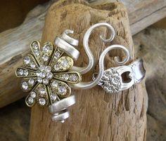 Fork Bracelet - Eternally Yours 1941 With Rhinestone Flower