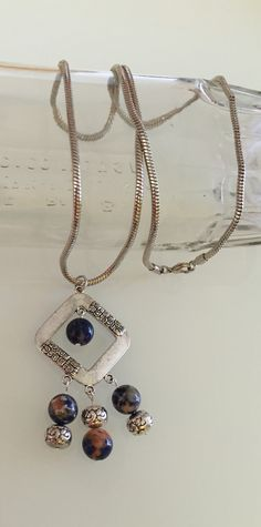 """Sodalite gemstone,pewter with SS pendant & beads, 30"""" length chain."""